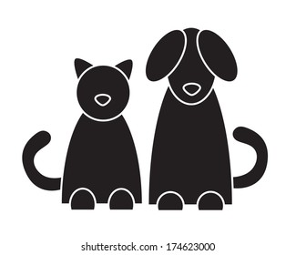 Cat and dog. Vector illustration.