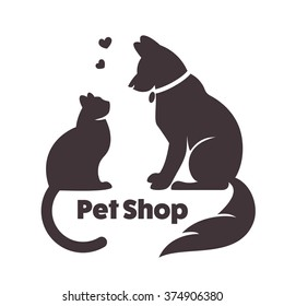 Cat and dog vector signs and logo. Vector for veterinary clinic.