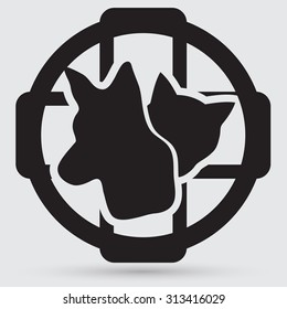 Cat and dog veterinarian clinic symbol