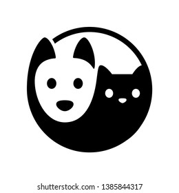 Cat and dog yin yang symbol. Simple, minimal cartoon white dog and black cat face. Isolated vector illustration.