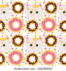 Cat and donuts pattern. Candy background. Confectionery powder.