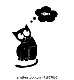 Cat dreaming of fish. Vector illustration