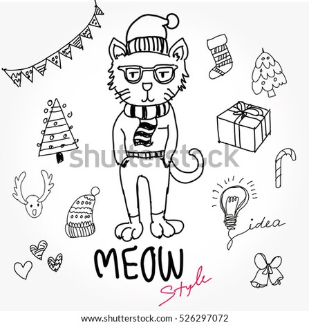 Cat Dress Fashion Animal Hand Draw Stock Vector Royalty Free