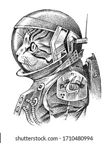 Cat dressed up in astronaut. Spaceman or cosmonaut in spacesuit. Fashion Animal character. Space sketch. Hand drawn Anthropomorphism. Vector engraved illustration for label or logo, T-shirts or tattoo