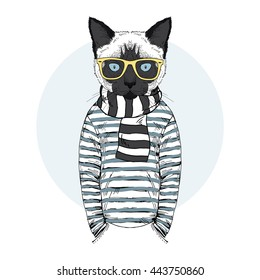 cat dressed up in frock, furry art illustration, fashion animals