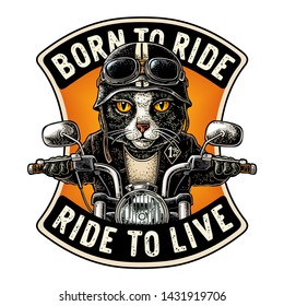 Cat dressed in the helmet and glasses driving a motorcycle rides. Vector hand drawn color vintage engraving. Isolated on white background. For poster and t-shirt biker club. BORN TO RIDE lettering.