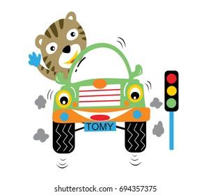 cat drive a car, vector cartoon