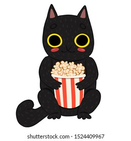 cat eating popcorn isolated on white background