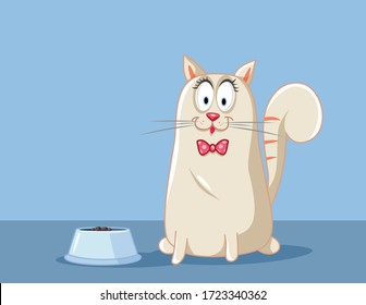 Cat Eating Vector Cartoon Illustration. Adorable pet animal feeding from a bowl