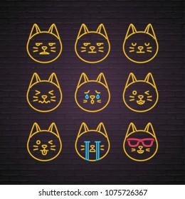 Cat Emoji Set Neon Light Glowing Vector Illustration with Phone Silhouette Design