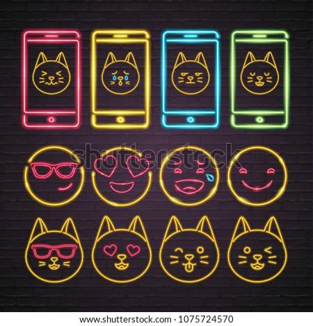 Cat Emoji Set Neon Light Glowing Stock Vector Royalty Free