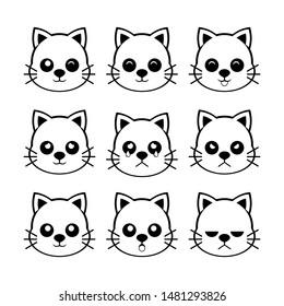 Cat Emoticon set pack black white