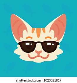 Cat emotional head. Vector illustration of cute kitty in sunglasses shows emotion. Cool emoji. Smiley icon. Print, chat, communication. White cat with red stripes in flat cartoon style.