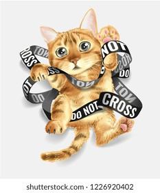cat entangled in do not cross tape illustration