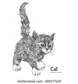 cat ethnic floral doodle pattern coloring stock vector royalty free 403577635 cat ethnic floral doodle pattern