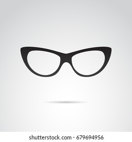 Cat eye glasses icon isolated on white background. Vector art.
