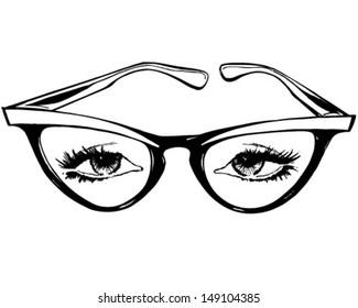 Cat Eye Glasses - Retro Clip Art Illustration