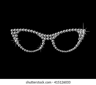 Cat eye retro glasses made of diamonds. Vector art.