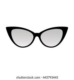 Cat eye sunglasses. Vector illustration. Woman trend shape sun glasses.