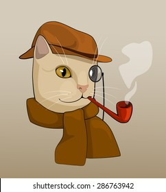 cat with eye-glass, brown hat, pipe and scarf, cartoon drawing