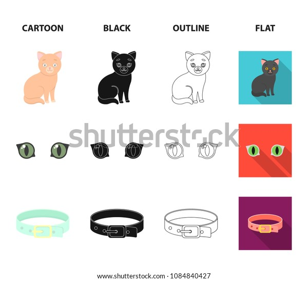 Cat eyes, a collar, a house for a cat, a medal on a ribbon.Cat set collection icons in cartoon,black,outline,flat style vector symbol stock illustration web.