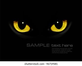 Cat eyes in dark night. Vector background.
