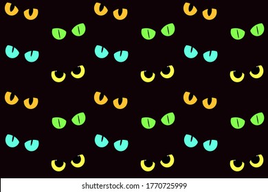 Cat eyes in the darkness. Vector seamless pattern for print design, fabric, textile, wallpaper, wrapping paper.