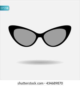 Cat eyes sunglasses, flat vector icon