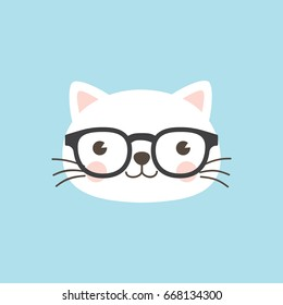 Cat face character. A cute white kitten wearing geek/nerd glasses on sky blue background Vector illustration for greeting card, invitation.