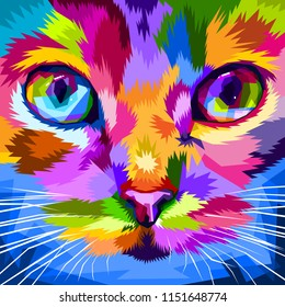 cat face close to colorful eyes