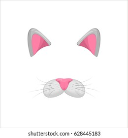 Cat face elements. Vector illustration. Animal character ears and nose. Video chart filter effect for selfie photo decoration. Constructor.Cartoon grey Cat mask. Isolated on white. Easy to edit.
