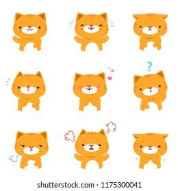 Cat face expression, set of cat cartoon vector illustration, facial expressions.