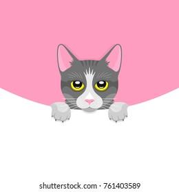 Cat Face Flat Vector Illustration