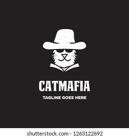 cat face head wear cowboy hat as mafia with grunge rustic effect logo icon vector inspiration