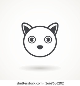 Cat face icon vector on white background. the head of a cat and dog