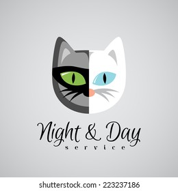 Cat face logo template. Dark gray and white color cats. Day and