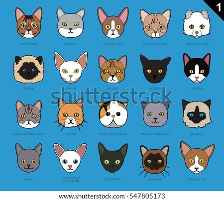 Cat Faces Icon Cartoon 1 Stroke Stock Vector Royalty Free
