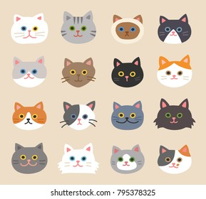 Cat faces with various breeds and patterns vector illustration flat design