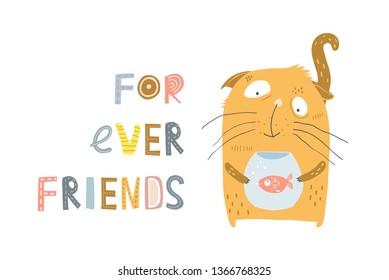 Cat and Fish Friendship. Cute animals kitten and aquarium fish forever friends.