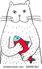 Cat with a fish. Hand drawn illustration.