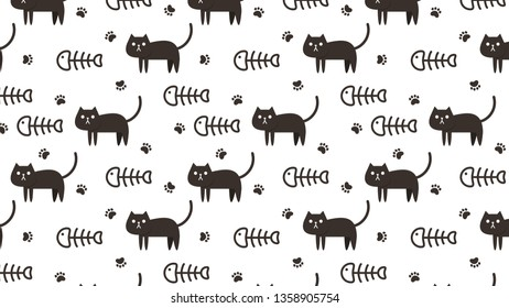 Cat and fishbone pattern vector.