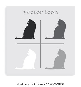 Cat flat black and white vector silhouette. Pet icon.