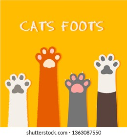 Cat flat design, prints, cartoon, cute cat foot wallpaper vector illustration