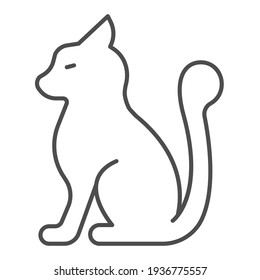 Cat with fluffy tail thin line icon, domestic animals concept, kitten sitting sign on white background, silhouette of furry cat icon in outline style for mobile and web design. Vector graphics.