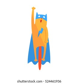 Cat Flying Animal Dressed As Superhero With A Cape Comic Masked Vigilante Geometric Character