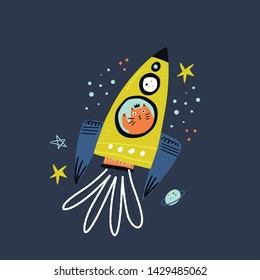 Cat flying in rocket flat vector illustration. Cute kitty princess waving hand cartoon character. Scandinavian style pet travelling in space. Sketchy stars, planets. Children textile, t-shirt print