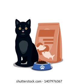 Cat food vector. Illustration of cartoon happy cat with full bowl of dry food and cat food package.