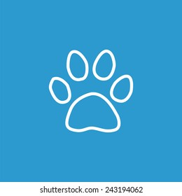 cat footprint outline icon, isolated, white on the blue background. Exclusive Symbols