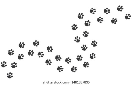 Cat footprints. Cats or dogs travel footprints. Black domestic animals paw prints isolated on white background. Vector illustration