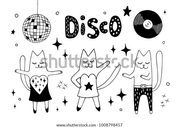 Cat Friends Dancing Disco Club Under Stock Vector Royalty Free